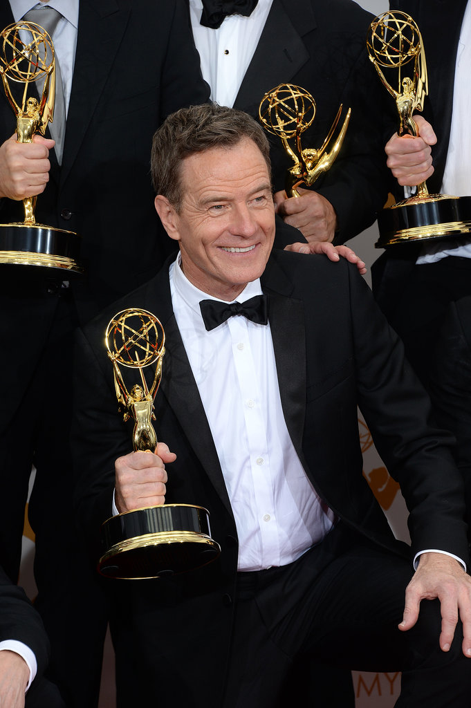 Producer Bryan Cranston happily showed off his new trophy.