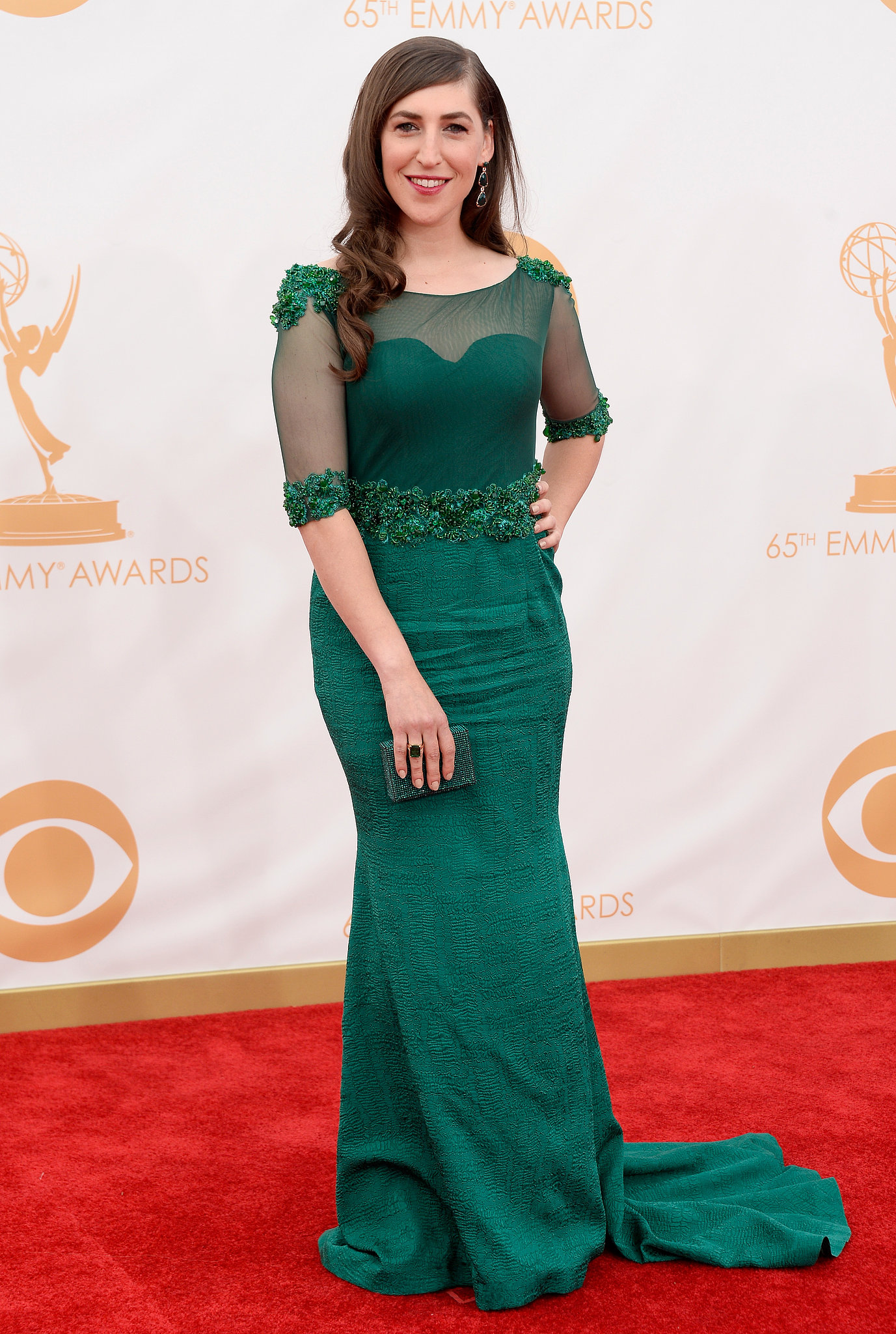 The Big Bang Theory's Mayim Bialik donned a green gown for the Emmys.