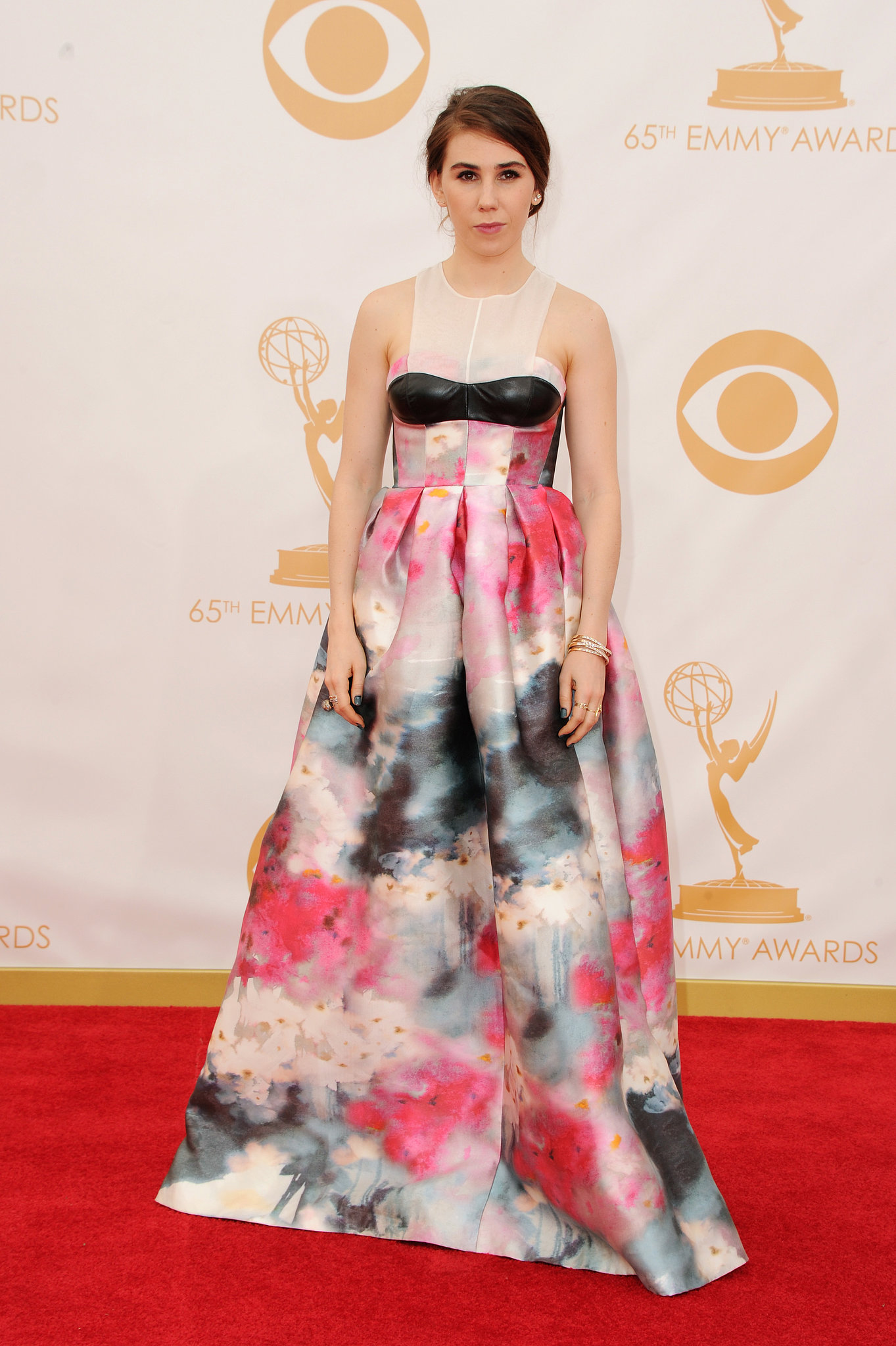 Zosia Mamet looked like a work of art in a custom Honor dress that evoked the beauty of watercolor florals. She finished it off with Brian Atwood heels.