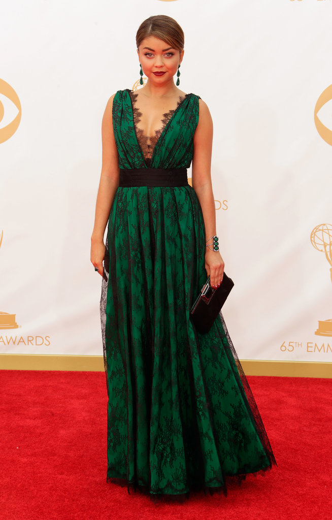 Sarah Hyland wore a CH Carolina Herrera dress on the red carpet at the 2013 Emmy Awards.