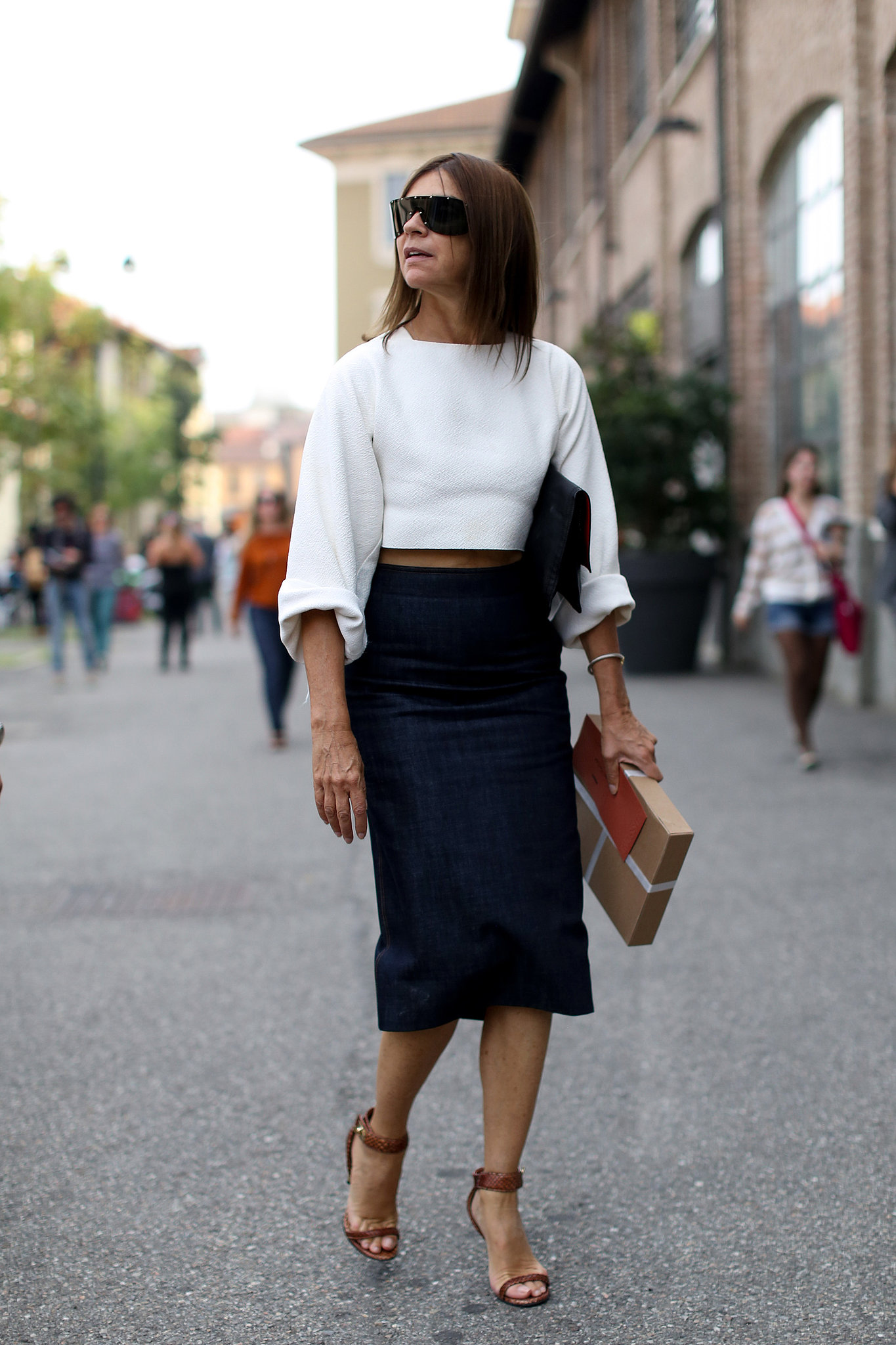 carine roitfeld stayed slick in a pencil skirt and crop