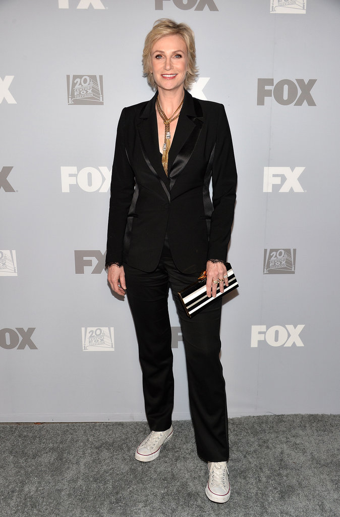 Jane Lynch slipped into sneakers and a suit at the FX and Fox post-Emmys party.