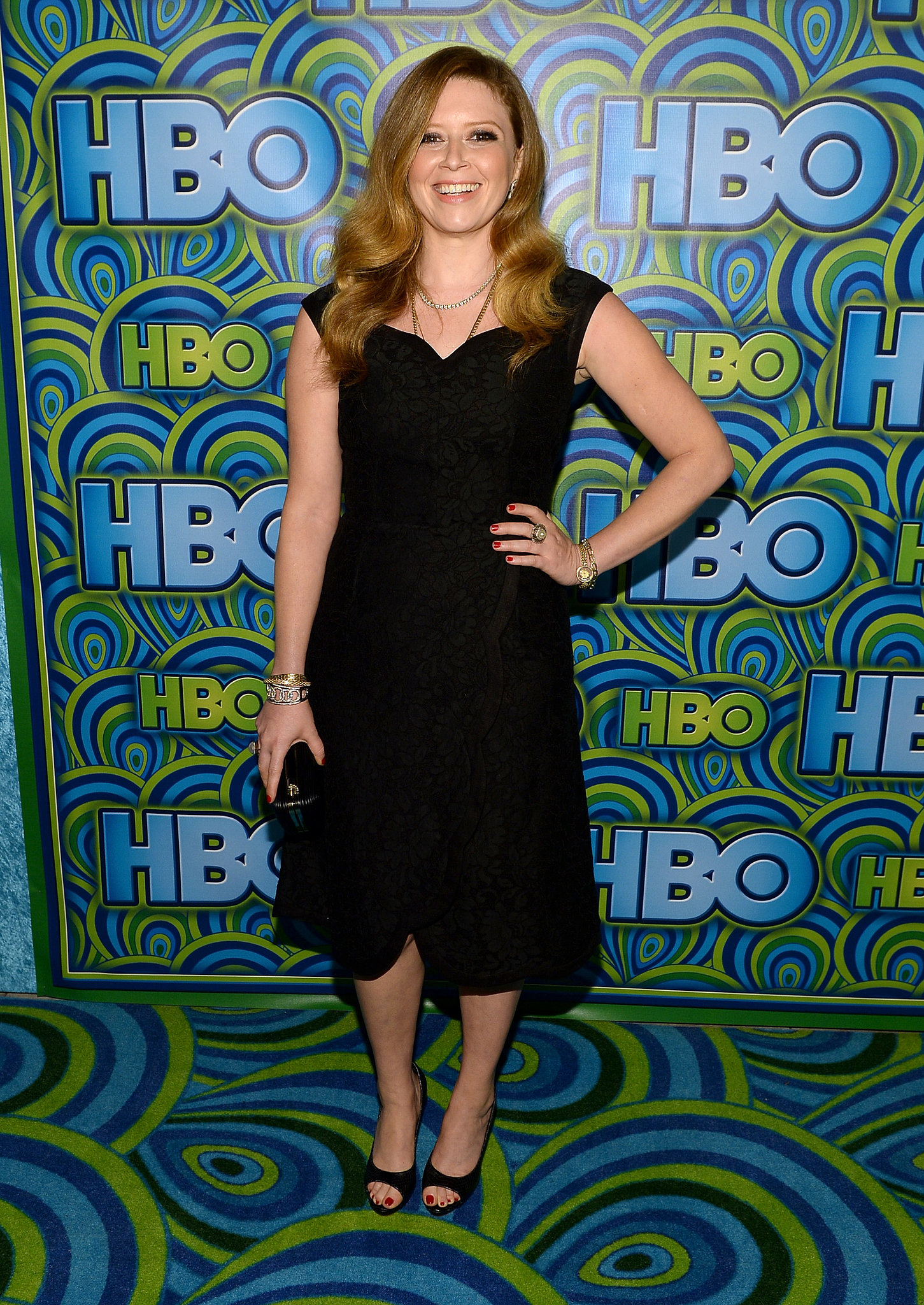 Natasha Lyonne kept it simple in a feminine black dress and open-toe heels.