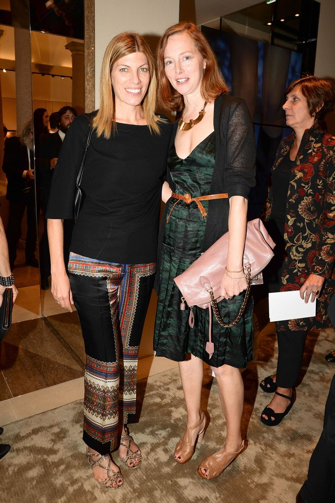 Virginia Smith and Anne Christensen stepped out for Ferragamo at the label's flagship opening in Milan.