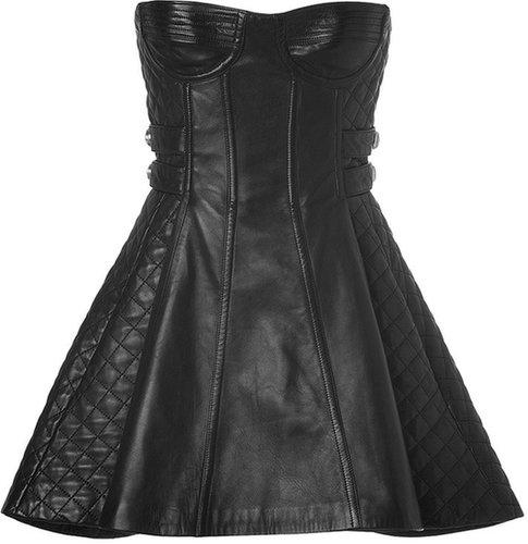 Balmain Leather Bustier Dress in Black