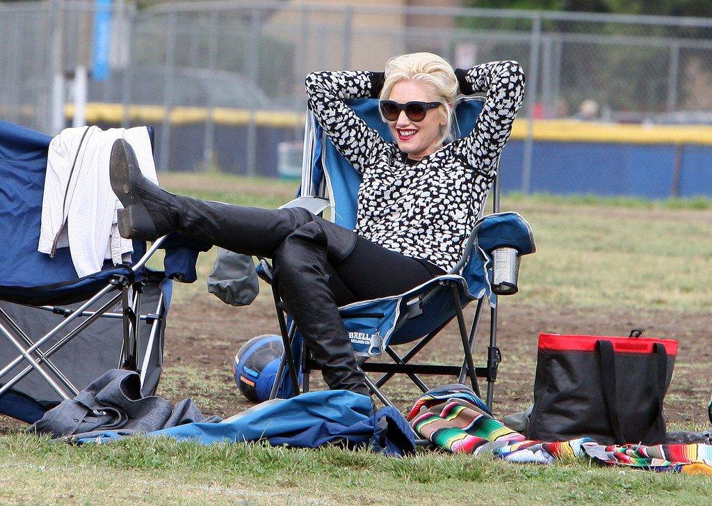Gwen Stefani relaxed while watching her son play soccer.