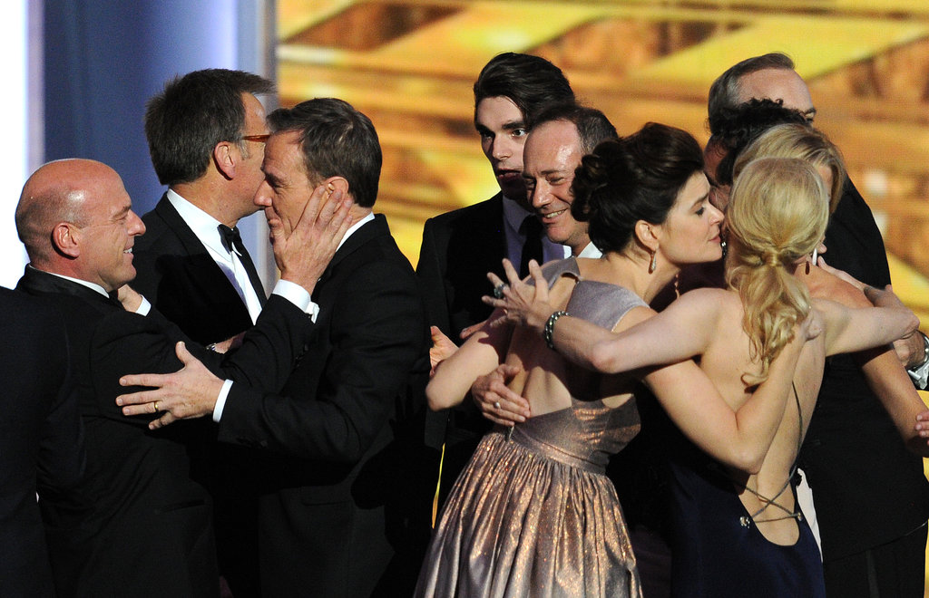 The whole cast and crew congratulated one another after winning the award for outstanding drama series.
