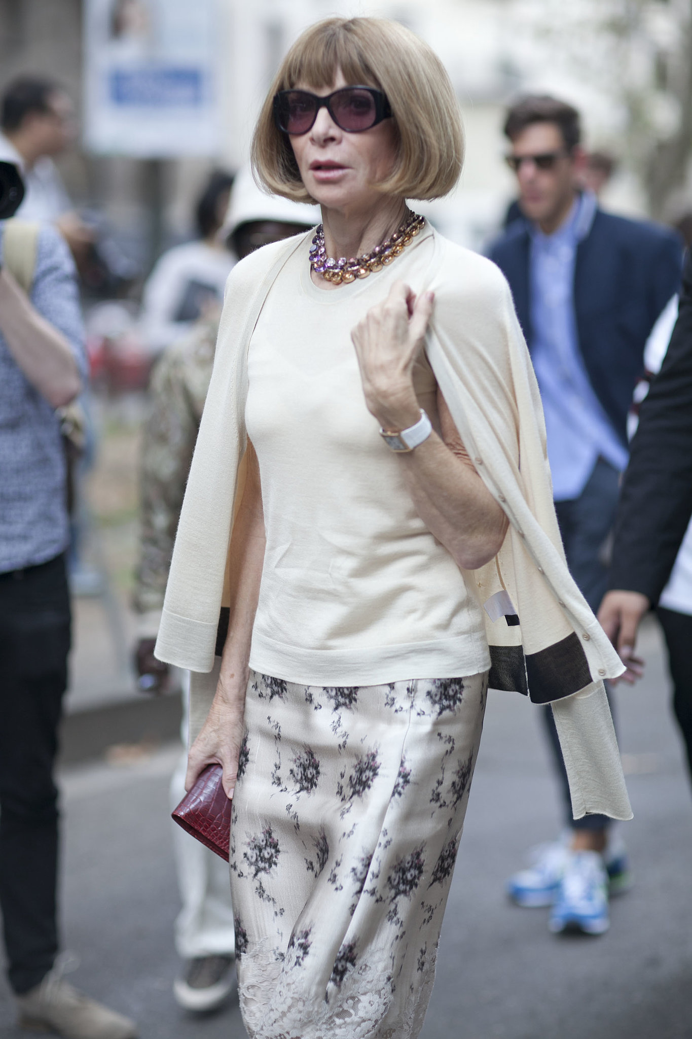 Anna Wintour traded a tweedy pencil skirt for a silky floral print.