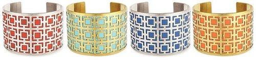 Z Designs Cutout Squares Leather Cuff Bracelet