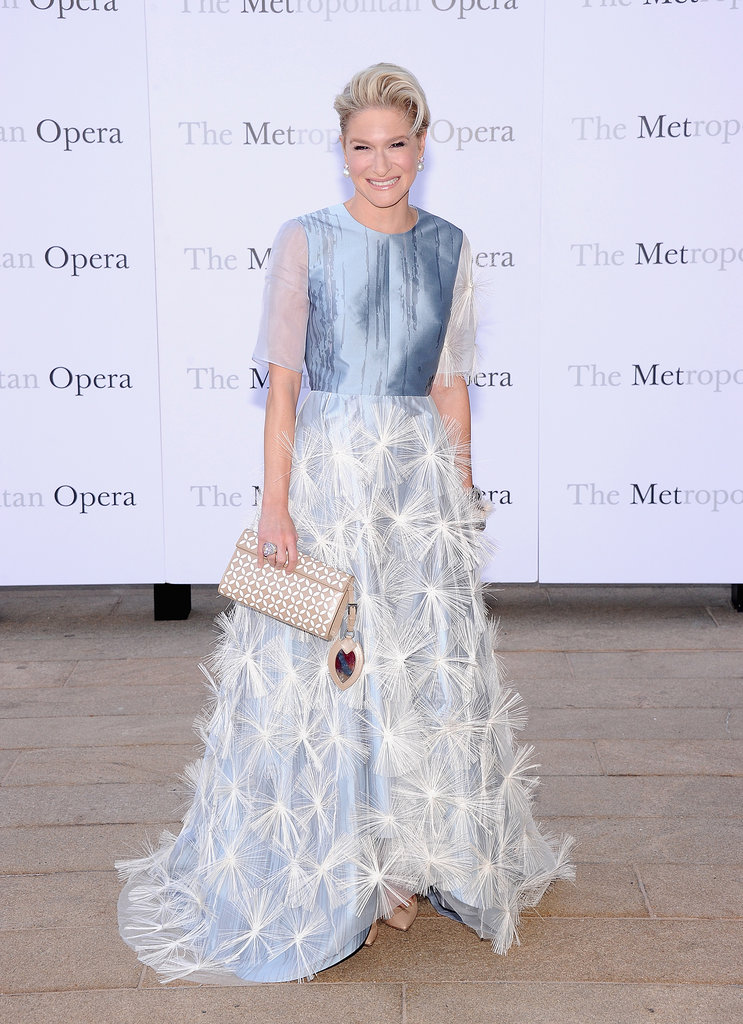 Julie Macklowe took in the opening night production of Eugene Onegin at The Metropolitan Opera House in an icy blue design.