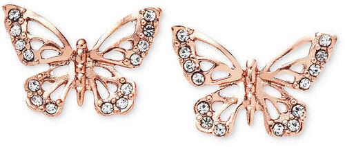 Fossil Earrings, Rose Gold-Tone Crystal Butterfly Stud Earrings