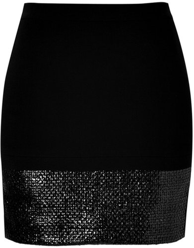 Sandro Black Woven Panel Skirt