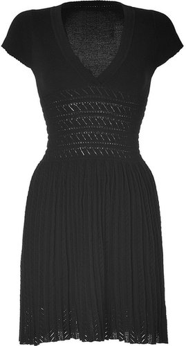Paul & Joe Black Knitted Cotton V-Neck Dress