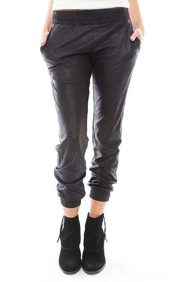 Monrow Vegan Leather Sweatpant in Black