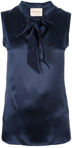 Erika Cavallini Semi Couture sleeveless pussy bow blouse