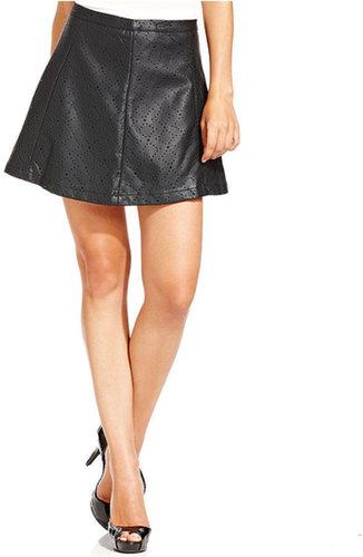 Jessica Simpson Skirt, Baxter Faux-Leather Cutout A-Line