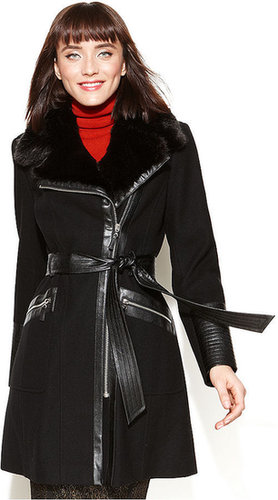 Via Spiga Coat, Belted Faux-Fur-Collar Wool-Blend