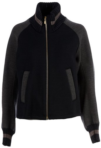 Kolor ribbed funnel neck jacket