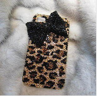 Image of  Leopard Bowknot Hard Cover Case For Iphone 4/4s/5