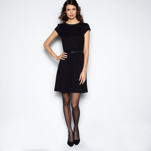 Short-Sleeved Stretch Milano Knit Dress