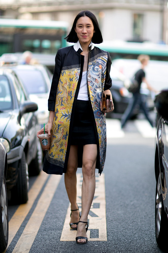 Eva Chen added flair with a printed coat.