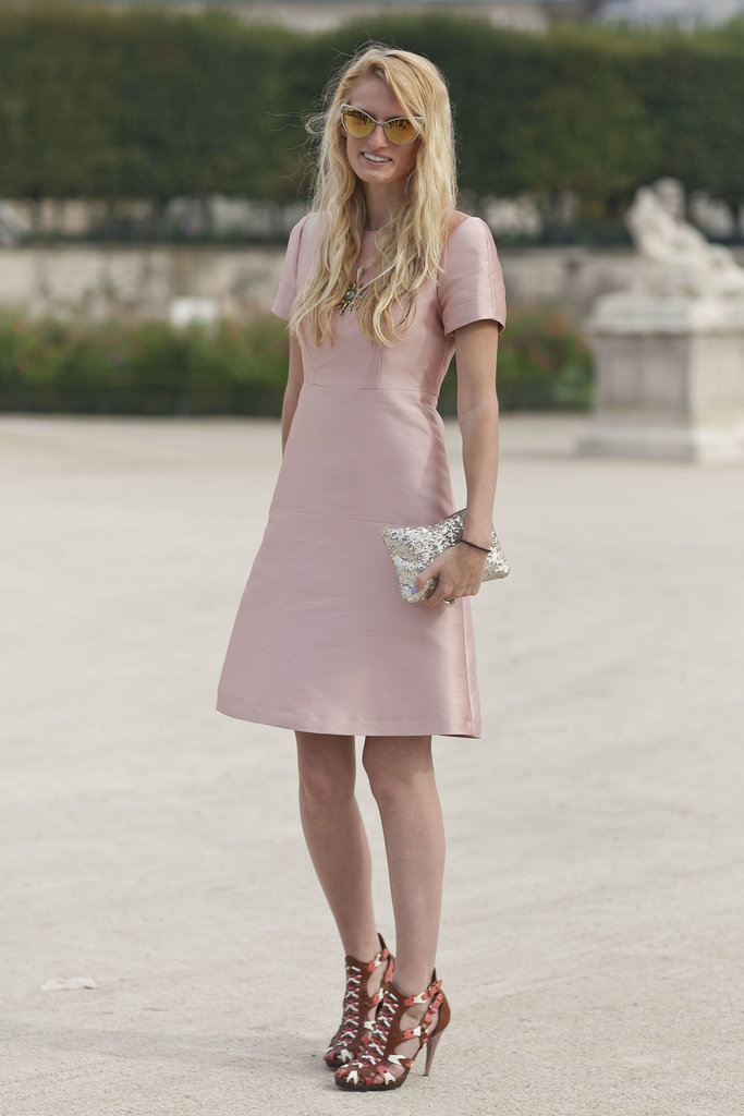 A demure day dress and not-so-demure heels.