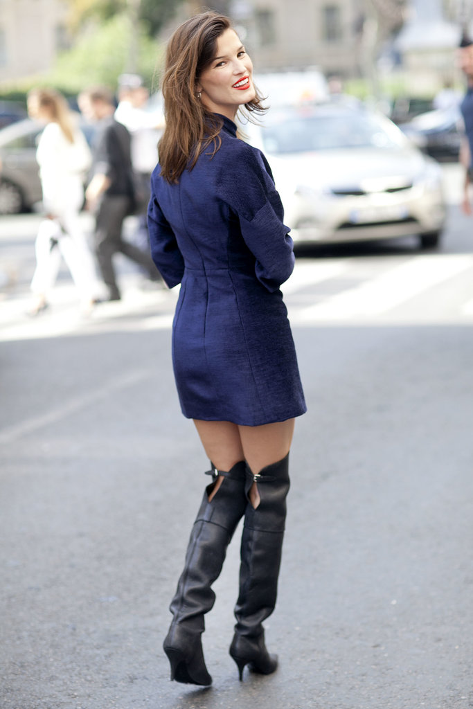 Hanneli Mustaparta worked a sweet little dress with some serious boots.