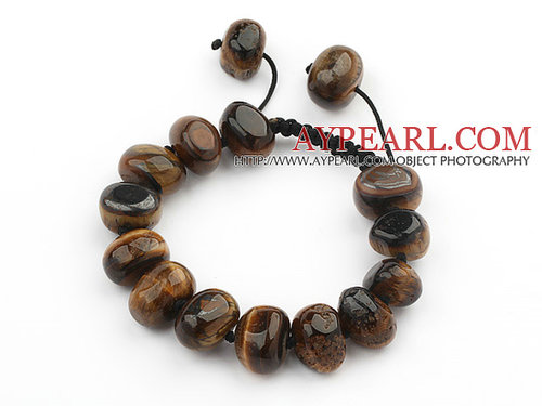 Assorted Fillet Irregular Shape Tiger Eye Knotted Adjustable Drawstring Bracelet