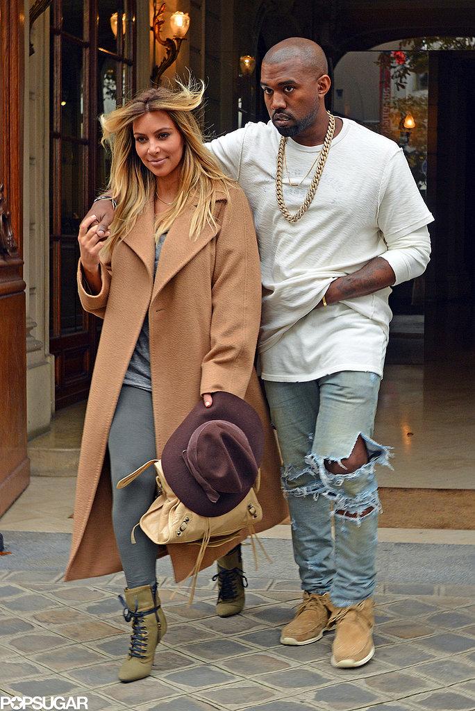 Kim Kardashian and Kanye West arrived in Paris on Saturday.