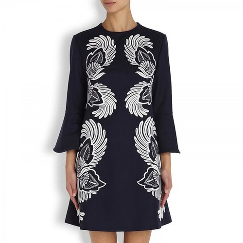 STELLA Blue Carine Embroidered Wool Dress