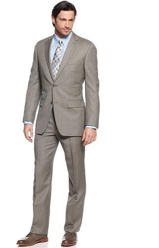 Tasso Elba Suit, Khaki Sharkskin