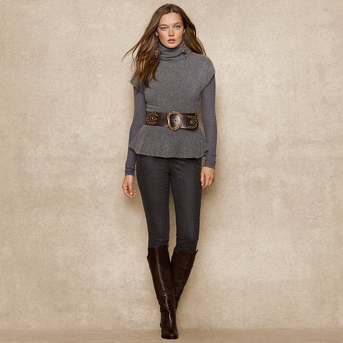 Ralph Lauren Blue Label Cashmere Peplum Sweater
