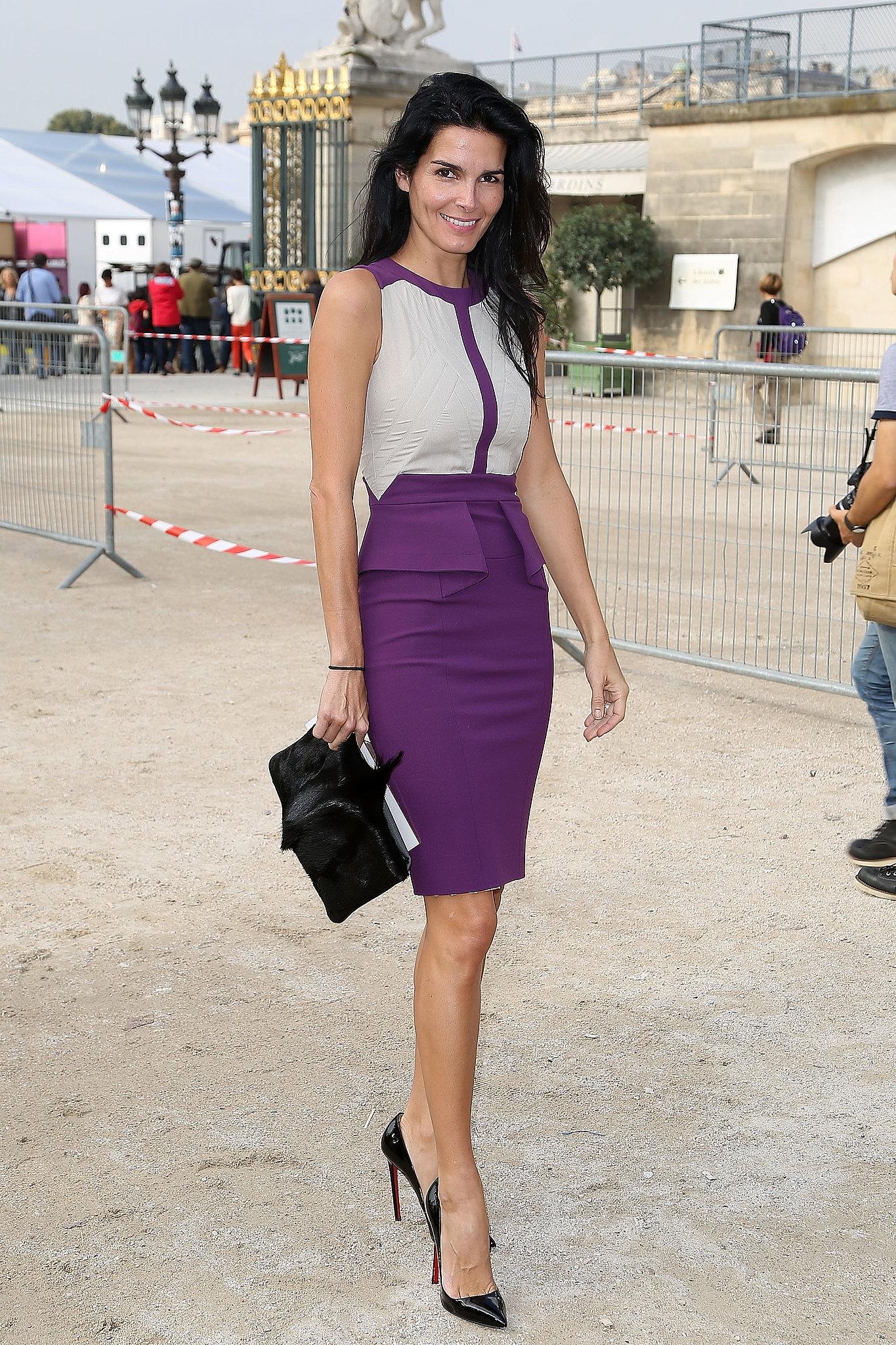 Angie Harmon S Purple And Nude Colorblocked Elie Saab