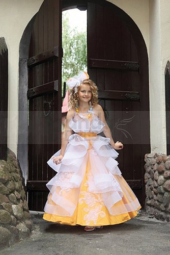A-line Floor-length Dress for Flower Girls with Tiered Ruffles
