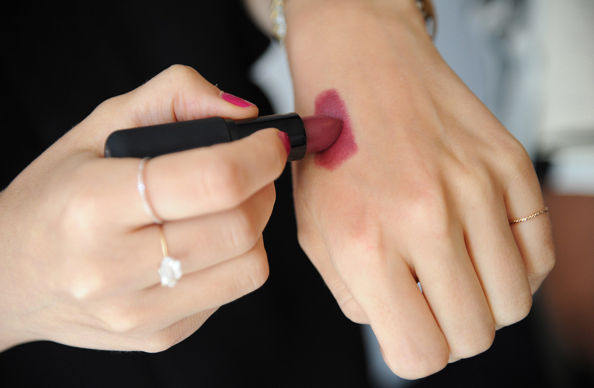 """For cheeks, McAdams used the same lipstick as cream blush. Just swatch on your hand to apply with your fingers. """"I like to keep those same mauve tones."""""""