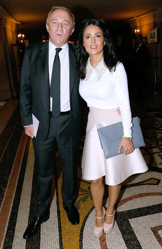 Salma Hayek and Francois-Henri Pinault attended Stella McCartney's show on Monday.