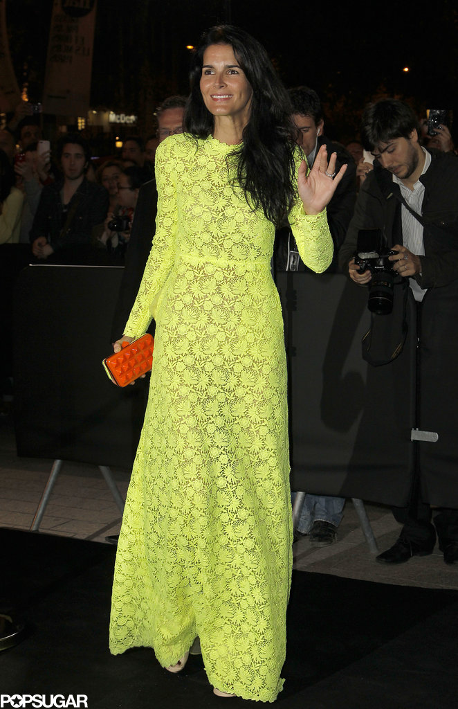 Angie Harmon was the brightest of the bunch in a neon yellow lace gown and contrasting orange clutch at the Mademoiselle C premiere.
