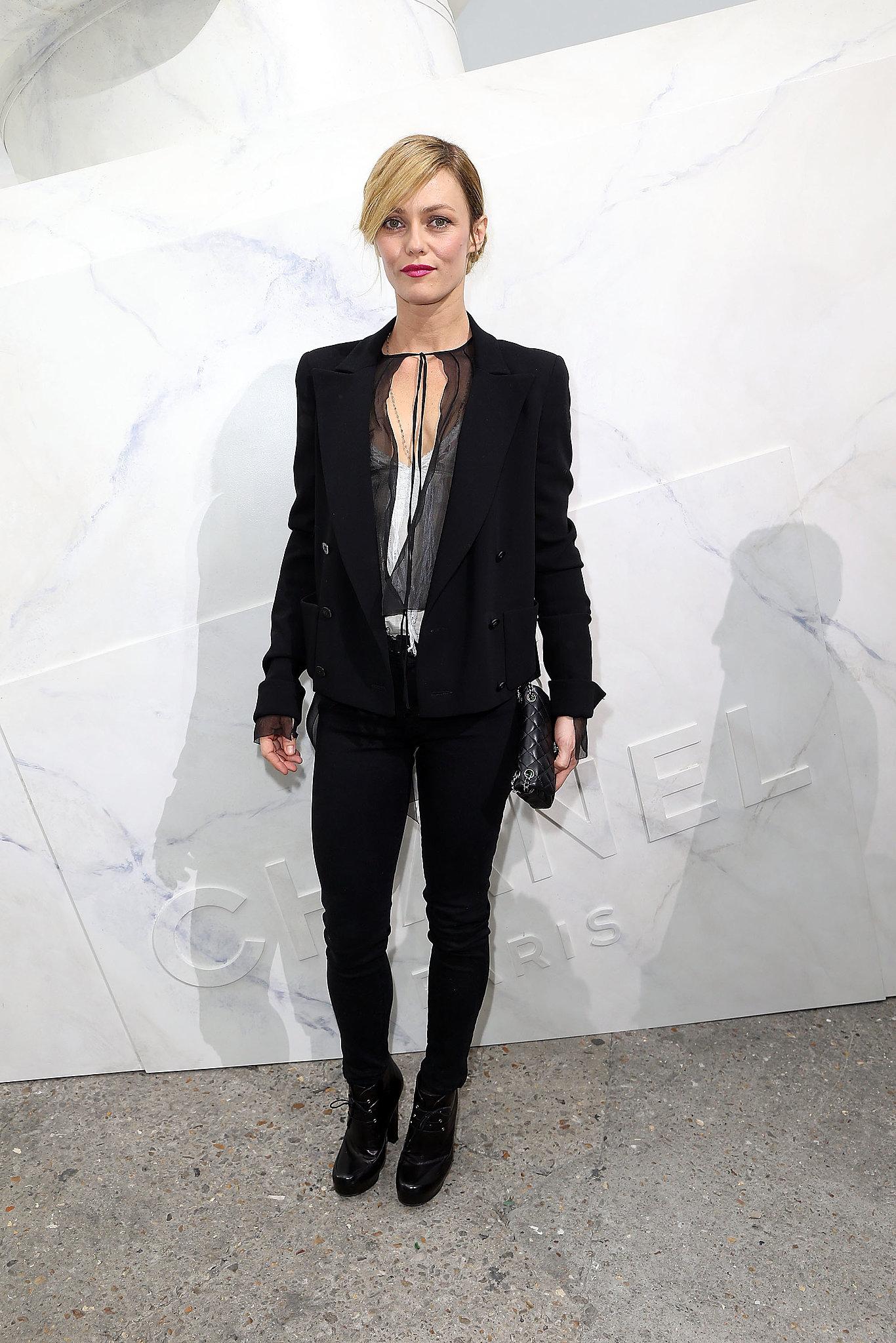 Vanessa Paradis wore black to Chanel.