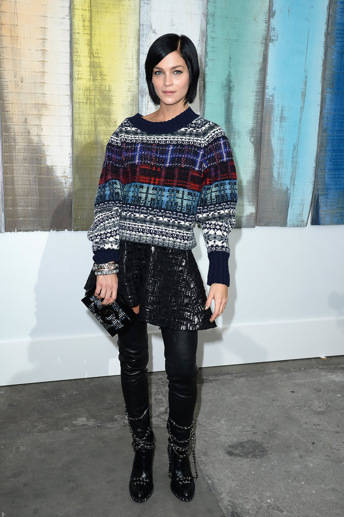 Leigh Lezark kept cozy at Chanel's Spring runway show.