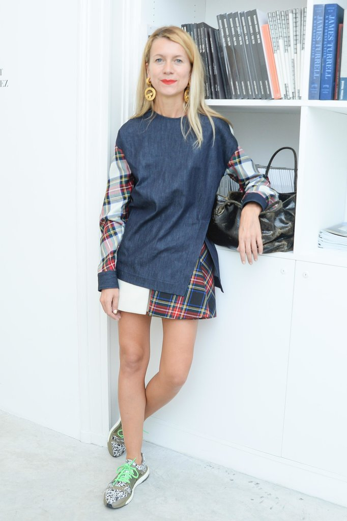 Natalie Joos sported some relaxed styles while previewing the Delfina Delettrez Spring presentation.