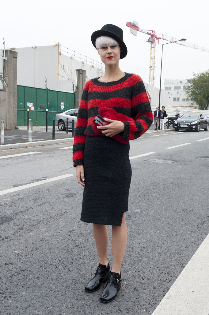 Stripes — with the lipstick to match on Linda Tol.