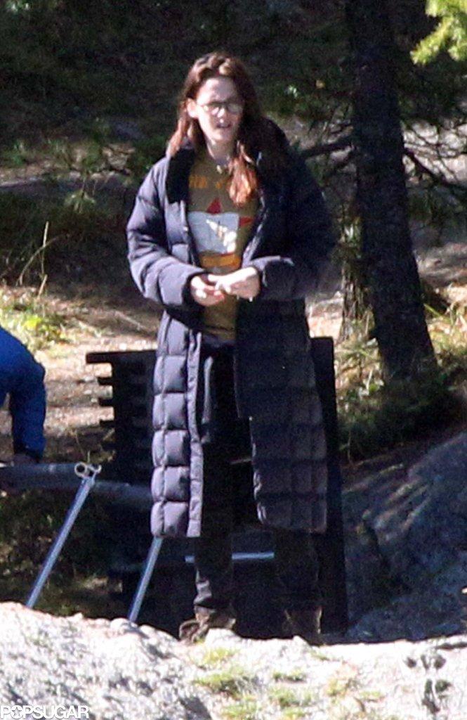 Kristen Stewart stayed bundled before stripping down on set.