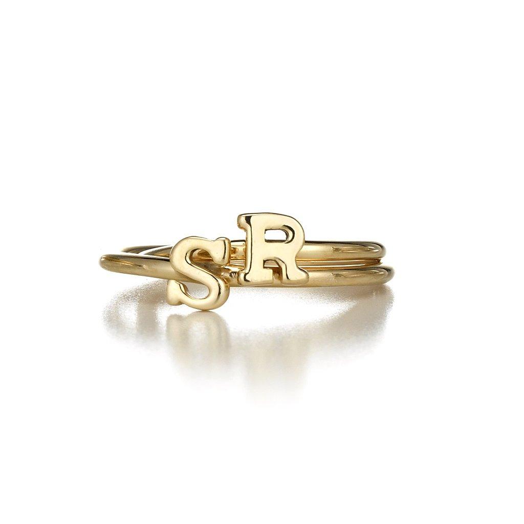 Sarah Chloe Stackable Initial Ring