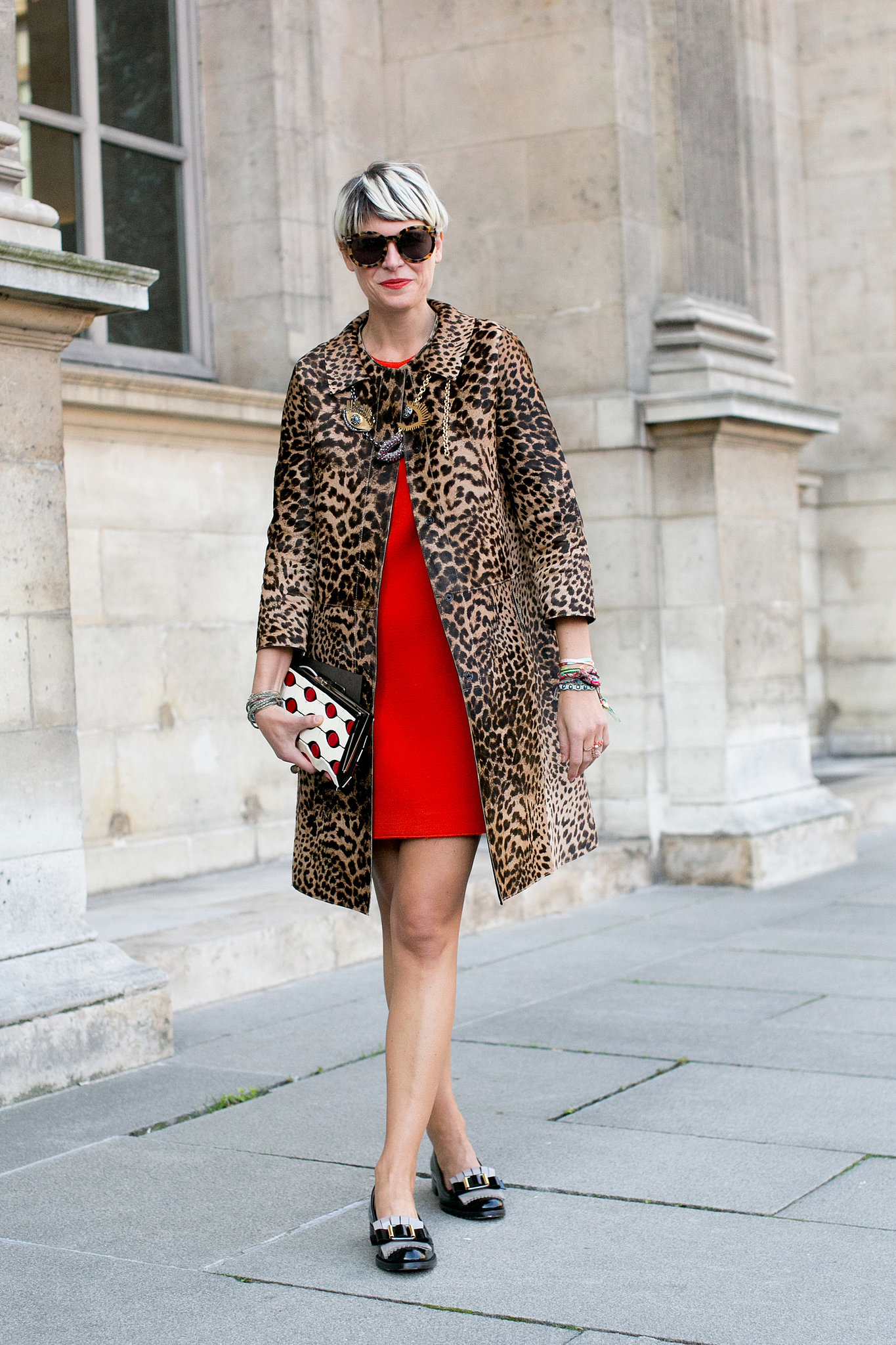 Elisa Nalin knows pairing red and leopard results in a high-impact style.