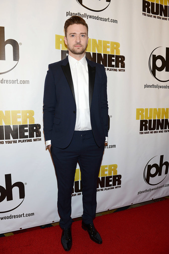 A hint of navy once again brought out Justin's baby blues. This time it was head-to-toe Saint Laurent that did the trick!