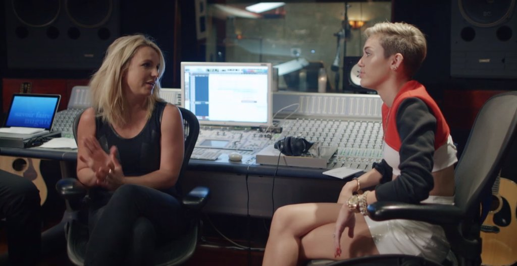 """On Oct. 2, MTV released its documentary about Miley Cyrus, called Miley: The Movement. The film follows the singer as she works on Bangerz and prepares for her VMAs performance. At one point, she sits down with Britney Spears while the two work on their song, """"SMS (Bangerz),"""" and gets advice from the superstar about how to prepare for the VMAs. The movie also gives insight on Miley's approach to her image, how she doesn't think she's in a """"transitional phase,"""" and how her MTV performance was a """"strategic hot mess."""" Source: MTV"""