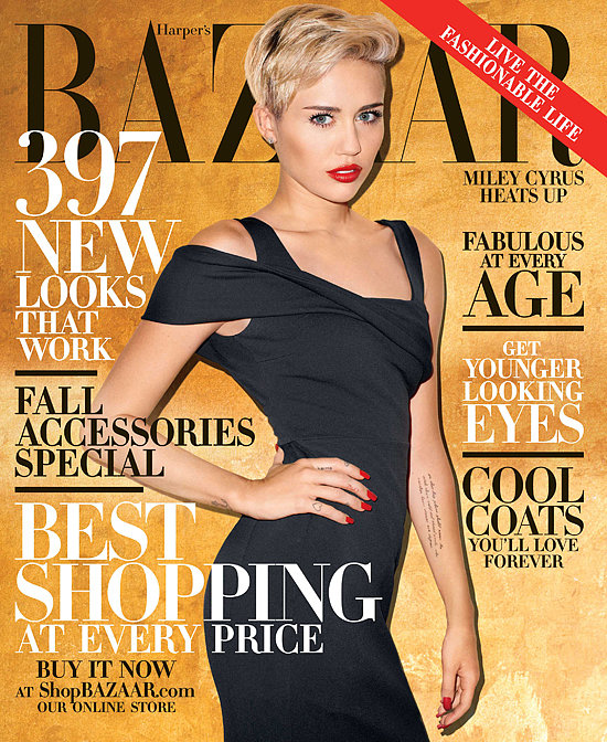 """Miley Cyrus landed on the October cover of Harper's Bazaar and gave advice to her fellow celebrities in the accompanying interview. She said that she wants Justin Bieber to keep his partying and antics behind closed doors and that she thinks it will be impossible for Lindsay Lohan to get rid of her """"toxic"""" friends after her stint in rehab. Source: Terry Richardson/Harper's Bazaar"""