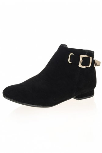 Black Gold Buckle Ankle Boots