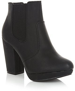 Wide Fit Black Chelsea Block Heel Ankle Boot