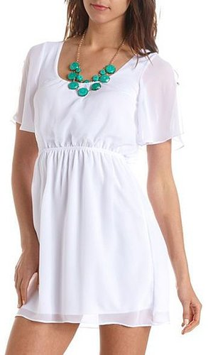 Cold Shoulder Chiffon A-Line Dress